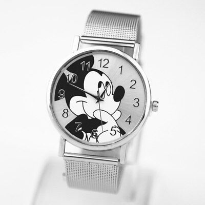 Fashion  Mickey Mouse  luxury quartz watch Lady SlimStainless Steel Mesh Stra...