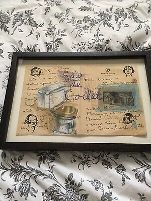 """Kit Keith """"eau De toilet"""" Framed Art Palmer House Chicago Found Objects Antique"""