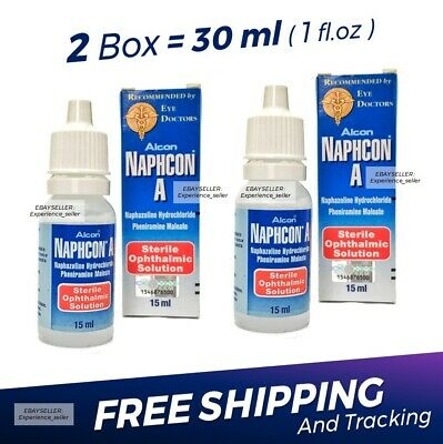 2 x Naphcon A Eye Drops 15 mL (0.5 oz) Redness Itchy Allergy Relief Exp:05/2022