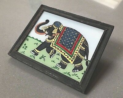 Vintage Indian Reverse Glass Painting. Rajasthan. Ceremonial Temple Elephant.