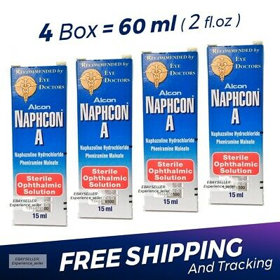 4 x Naphcon A Eye Drops 15 mL (0.5 oz) Redness Itchy Allergy Relief Exp:05/2022