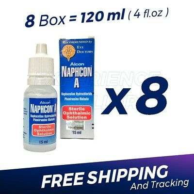 8 x Naphcon A Eye Drops 15 mL (0.5 oz) Redness Itchy Allergy Relief Exp:10/2020
