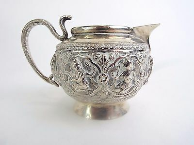 Jug Indian Temple Dancers Solid Silver Snake Handle Cutch Bombay INDIA 1870