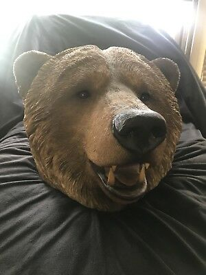 RARE Sandicast HUGE GRIZZLY BEAR HEAD Sculpture Signed By Sandra Brue MINT