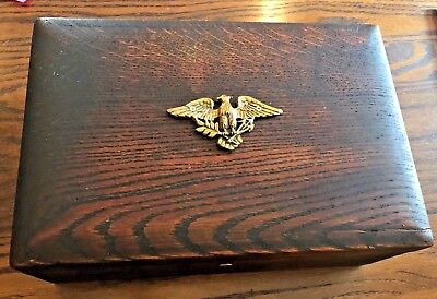 Vintag Humidor Wood American Eagle Brass Acent