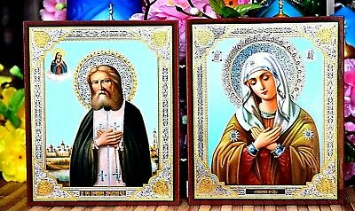 Virgin Tenderness and  St.Seraphim of Sarov Russian Orthodox icon Diptych