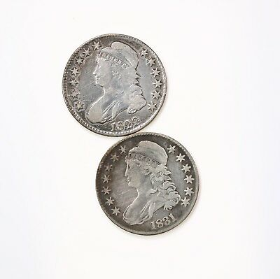 2 Pack Capped Bust Silver Half Dollars 1823 & 1831 Circulated Coin Lot