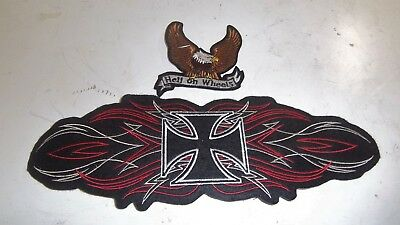 2 Large Jacket or Vest Patch-Iron On Sew On-Biker-- Iron Cross Sleeve, Eagle