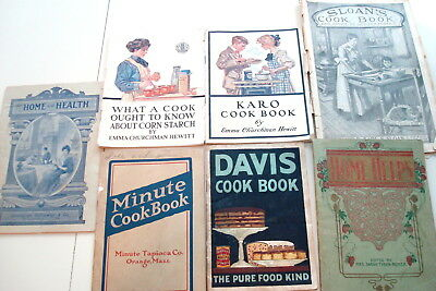 Seven Antique Vintage Early 1900s Cook Books and Guides