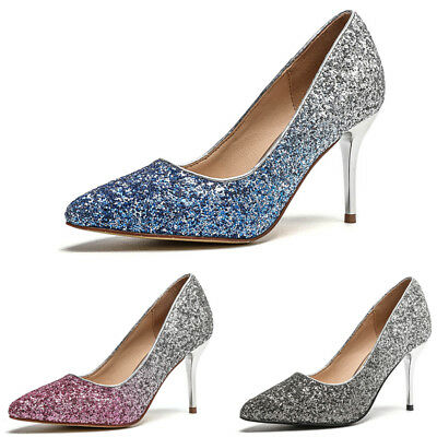 Sexy Women Sparkly Sequin Gradient Pumps Ladies Point-Toe High Heels Shoes Party