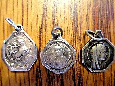 Vintage Antique Religious Medal Lot Of 3 Small Medals  Pendant Lot D3