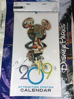 "DISNEY 2019 ATTRACTION POSTER CALENDAR disneyland framable parks art 12""x21"" NEW"