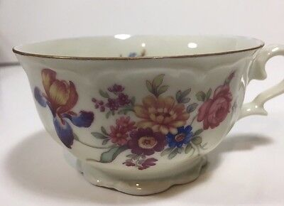 Vtg Tea Cup Bavaria Germany Bareuther 33 22 US Zone White Floral Pink