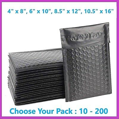 Black Poly Bubble Mailers Shipping Mailing Padded Bags Envelopes Color Any Size