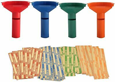 Four Funnel Shaped Coin Counting Tubes for Pennies, Nickles, Dimes, and Quarters