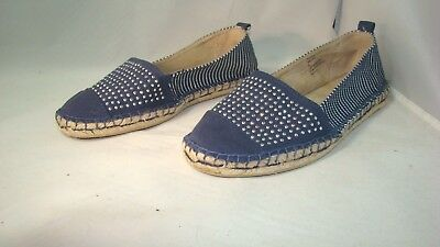 1a3700ee59db98 White Mountain Women s Shoes Size 8 M Blue   White Denim Beaded Sandals