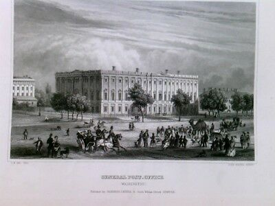 Original Stahlstich / Steel engraved print, Washington. Old Post Office Building