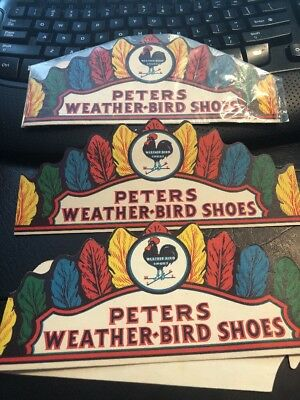 Lot 3 Vintage Peters Weatherbird Shoes Advertising Headband Novelty