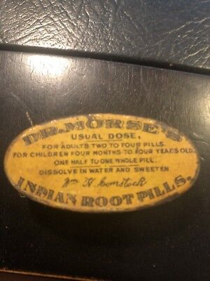 Dr. Morse's Indian Root Pills Medicine Tin English one/side Spanish other