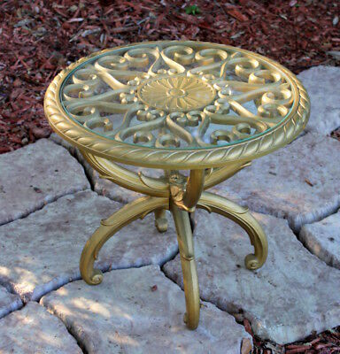 Vintage Mid-century Hollywood Regency Side table Glass Top Syroco Style