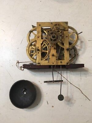 Antique Ogee Clock Movement With Alarm Function & Strike Bell