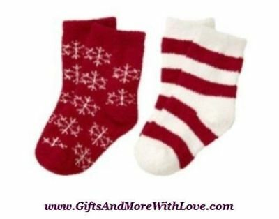 Gymboree NWT 2 pairs Red Ivory STRIPE SNOWFLAKE TERRY DRESS SOCKS SET 6 9 12 24