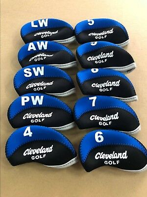 10 x Golf Club Headcovers for Cleveland Iron Covers Neoprene 4-LW Blue&Black