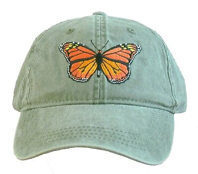 Monarch Butterfly Embroidered Cotton Cap NEW Hat