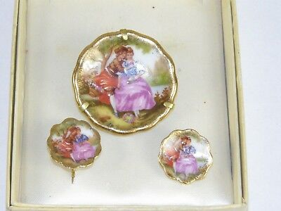 Antique Victorian Hand Painted Limoges Porcelain Brooch & Earring Set Boxed