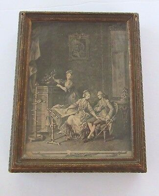 Vintage carved wood jewelry box mirrored -glass covered Victorian scene  AS IS