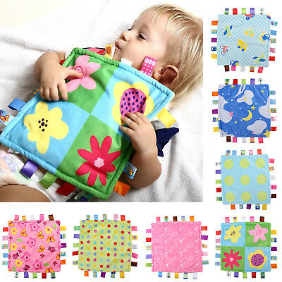 Baby Boys Girls Taggy Colorful Security Blanket Cloth Comforter Cozy UK Seller