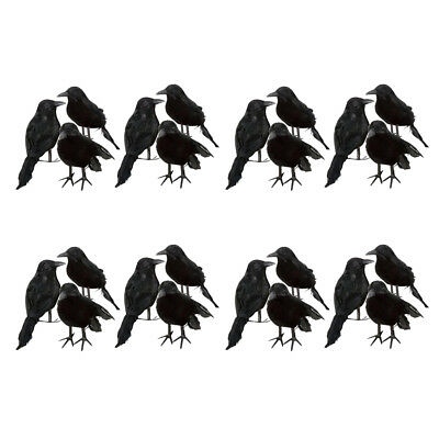 24pcs spooky small black crows birds ravens props scary halloween decor