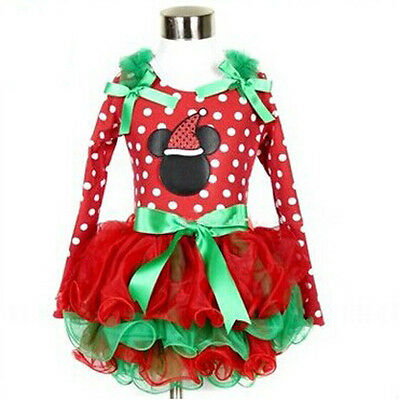 Princess Baby Girl Christmas Party Dress Mickey Lace Tutu Dress Outfits Clothes