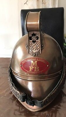 Patina Antique Finish Solid Brass Mfb Fireman Helmet Nautical Decor