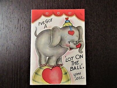 Vintage 1940s Valentine Card with Elephant by Doubl-Glo