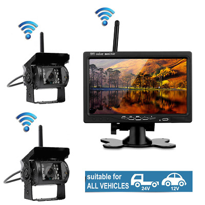 """7"""" Monitor+2x Wireless Rear View Backup Night Vision Camera For Trailer Van Bus"""