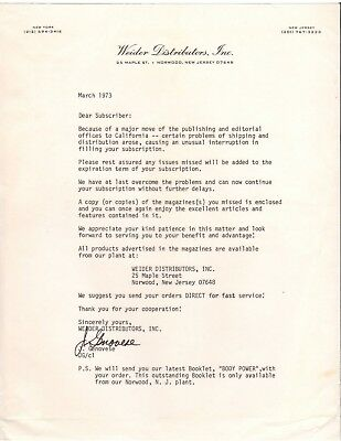 Weider Publishing Distributors Company Moves To California March 1973 Letter