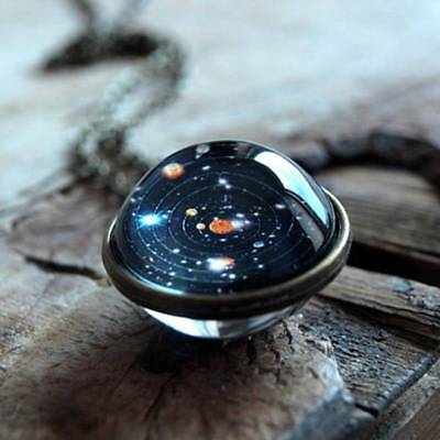 Planet Pendant Necklace Solar System Space Double Sided Glass Dome Decor Gift