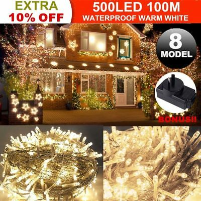 100M 500 LED Warm White Fairy String Lights Christmas Tree Xmas Party Wedding AU