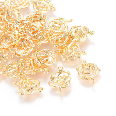 20pcs Brass Filigree Flower Charm Connectors 1/1 Loop Bumpy Gold Plated 15.5mm