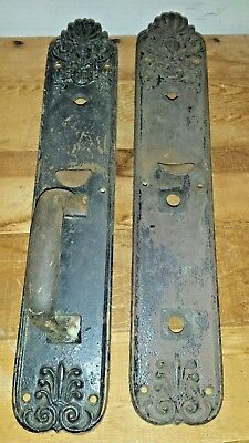 Vintage Victorian  Large Entry Thumb Latch Door Back Plates Sargent 15""