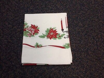 Vintage Tablecloth 50s Christmas Red Green White Candles Poinsettia Cotton