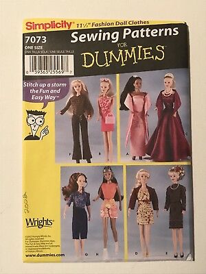 Simplicity Sewing Pattern 7073 11 12 In Doll Clothes Barbie New