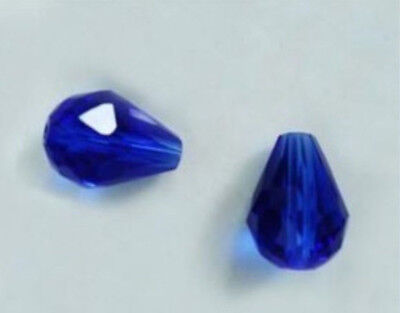 30pc 8x12mm Deep Blue Crystal Teardrop Gems FACETED Loose Beads Wholesale