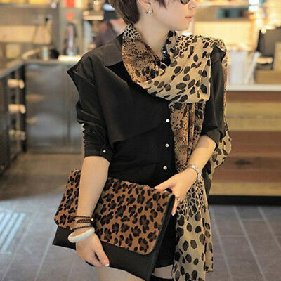 Womens Girls Leopard Print Soft Chiffon Shawl Scarf Long Wrap Stole Scarves New