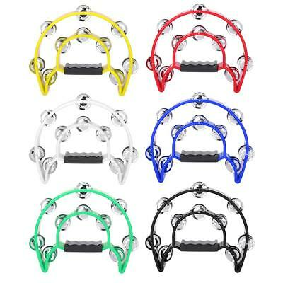Double Row Jingles Half Moon Musical Tambourine Percussion Drum Party Toy 6color