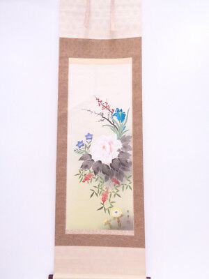 3771119: Japanese Wall Hanging Scroll / Hand Painted / Four Seasons Flowers / Ar