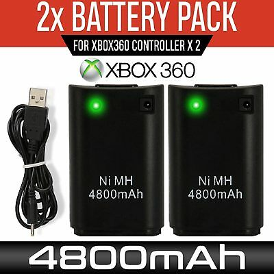 2pcs Xbox 360 Controller Battery Pack & Lead Console Gaming Play Charge Kit