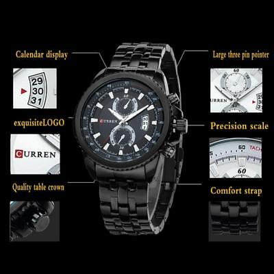CURREN Fashion Mens Stainless Steel Chronograph Analog Quartz Date Wrist Watches