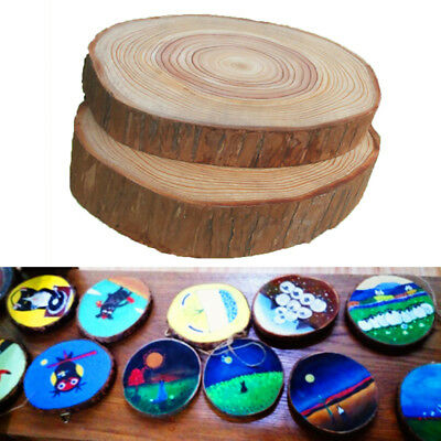 30pcs Natural Round Wood Disc Slices Shape Rustic Wedding Hobbies Craft DIY UK